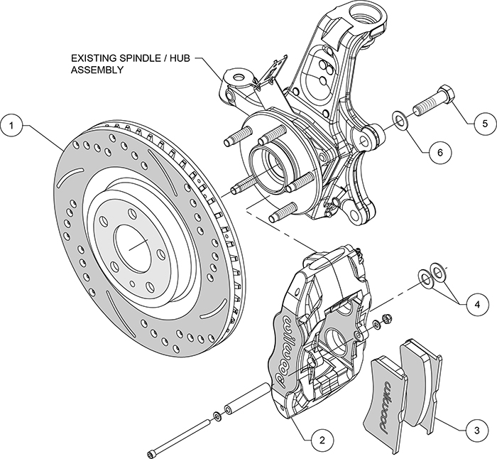 SLC56 Front Replacement Caliper and Rotor Kit Assembly Schematic