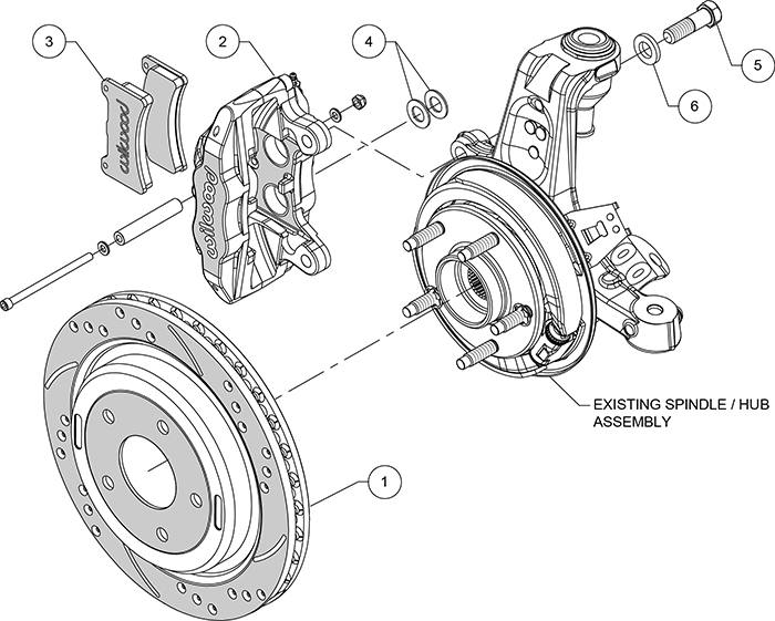 DPC56 Rear Replacement Caliper and Rotor Kit Assembly Schematic
