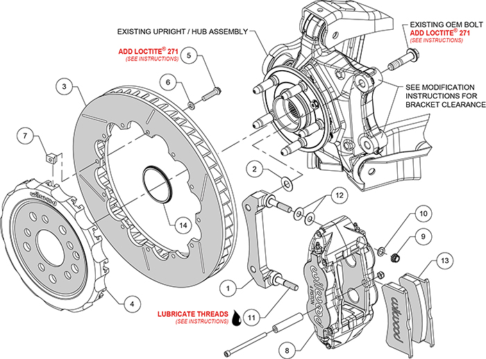 Forged Narrow Superlite 4R Big Brake Rear Brake Kit (Race) Assembly Schematic