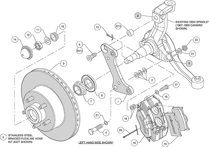 Classic Series Dynalite Front Brake Kit Assembly Schematic