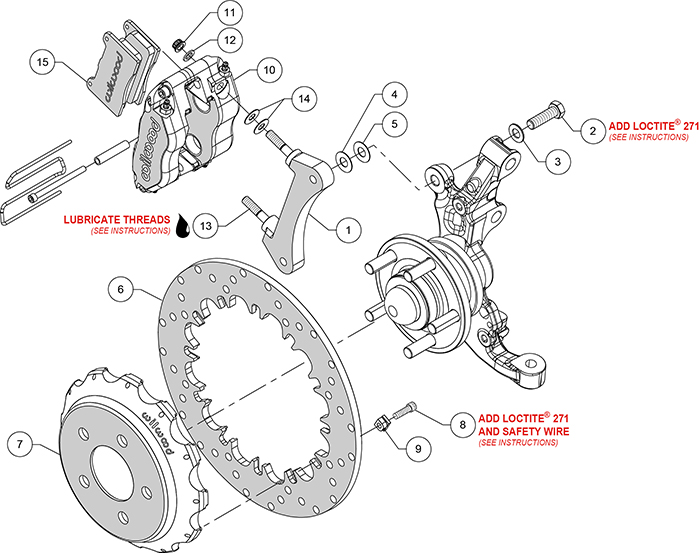 Dynapro Radial Front Drag Brake Kit Assembly Schematic