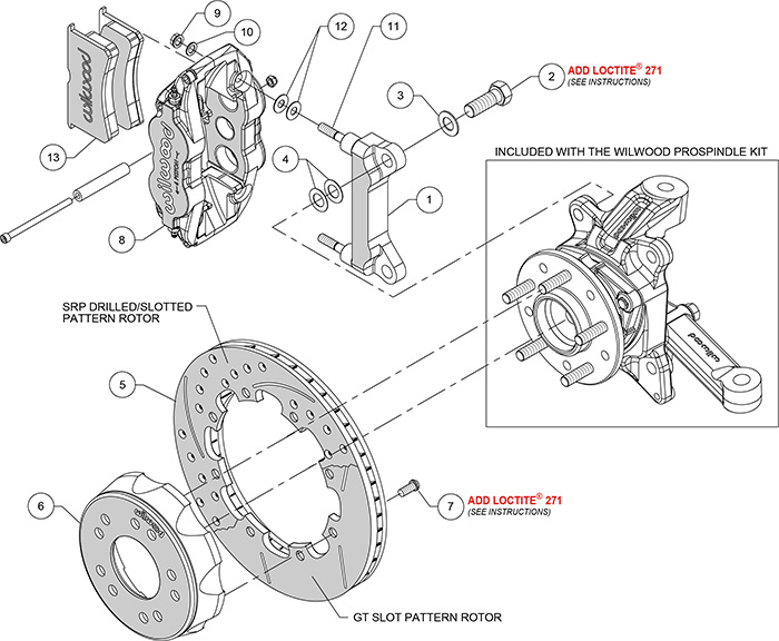 Forged Narrow Superlite 4R Big Brake Front Brake Kit (Hat) Assembly Schematic