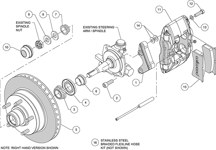 Classic Series Forged Superlite 4 Front Brake Kit Assembly Schematic