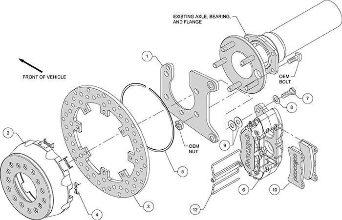 Dynapro SA Lug Drive Dynamic Rear Drag Brake Kit Assembly Schematic