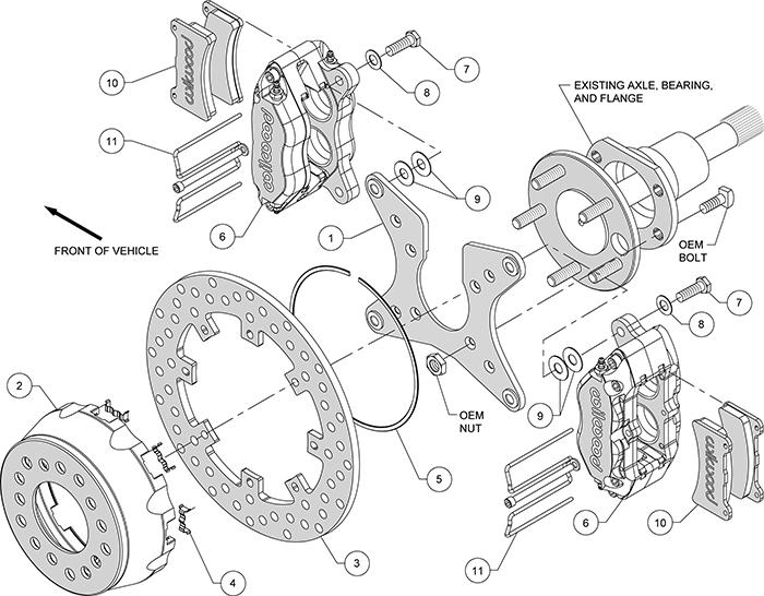 Dynapro Dual SA Lug Drive Dynamic Rear Drag Brake Kit Assembly Schematic