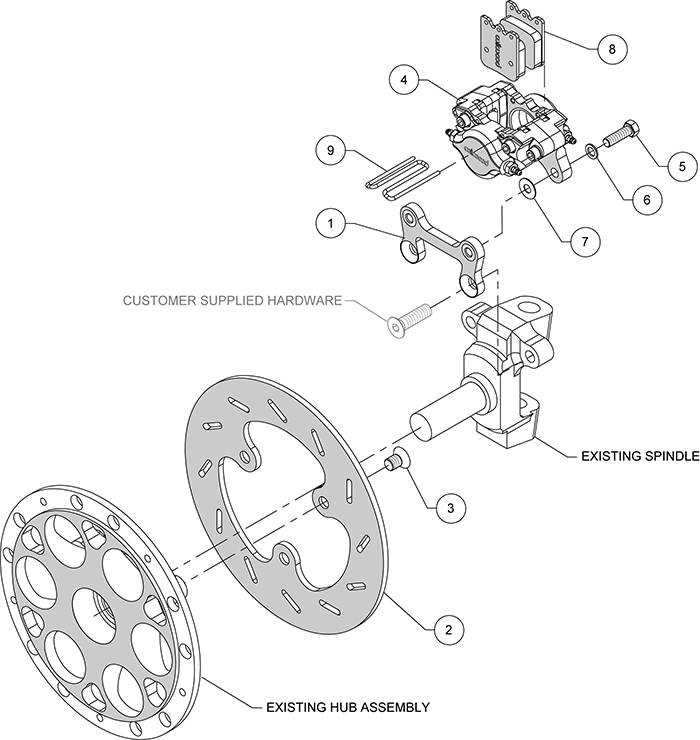 Dynapro Single Left Front Brake Kit Assembly Schematic