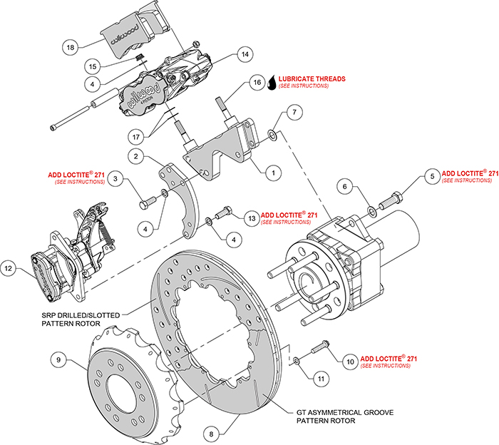 Forged Narrow Superlite 4R-MC4 Big Brake Rear Parking Brake Kit Assembly Schematic