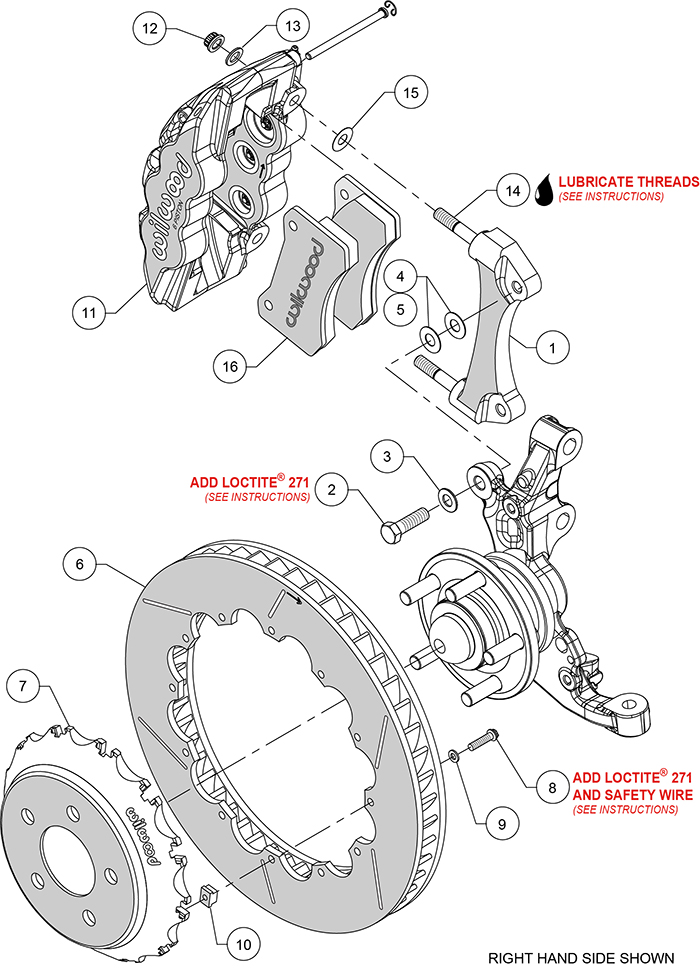 AERO6 Big Brake Front Brake Kit (Race) Assembly Schematic