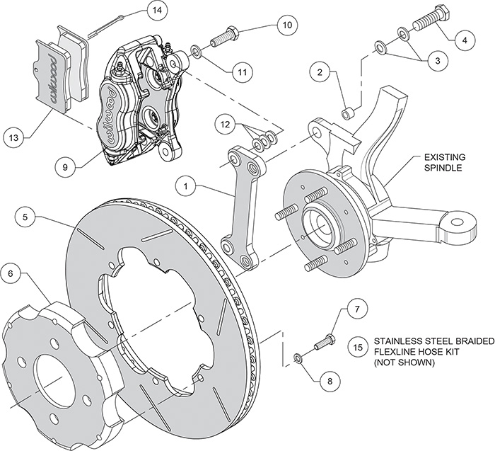 Forged Dynalite Big Brake Front Brake Kit (Race) Assembly Schematic