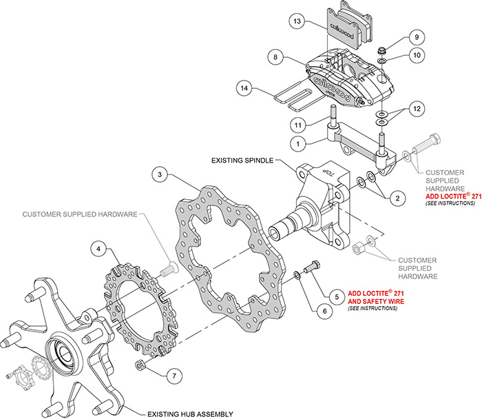 Powerlite Front Dirt Modified Brake Kit Assembly Schematic