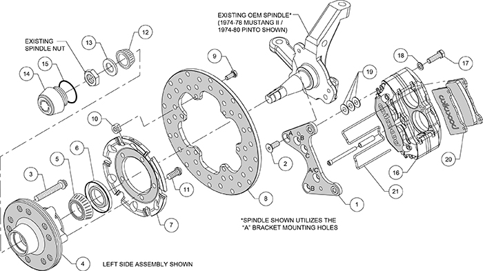 Dynapro Lug Mount Front Dynamic Drag Brake Kit Assembly Schematic