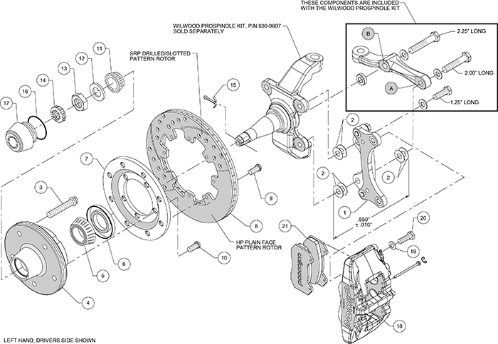 Forged Dynapro 6 Big Brake Front Brake Kit (5 x 5 Hub) Assembly Schematic