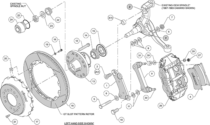 Forged Narrow Superlite 6R Big Brake Dynamic Front Brake Kit (Hub) Assembly Schematic