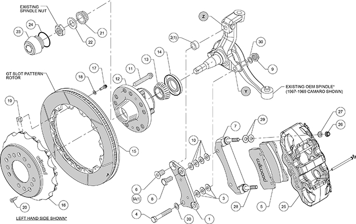 AERO6 Big Brake Dynamic Front Brake Kit Assembly Schematic
