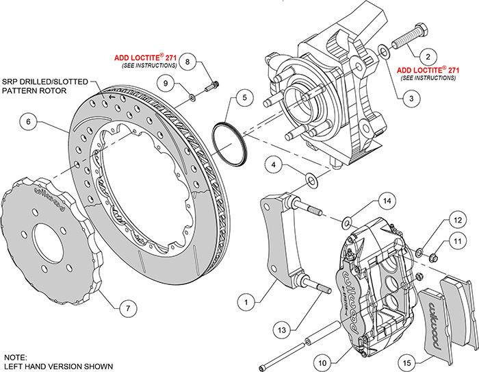 Forged Narrow Superlite 6R Big Brake Front Brake Kit (Hat) Assembly Schematic