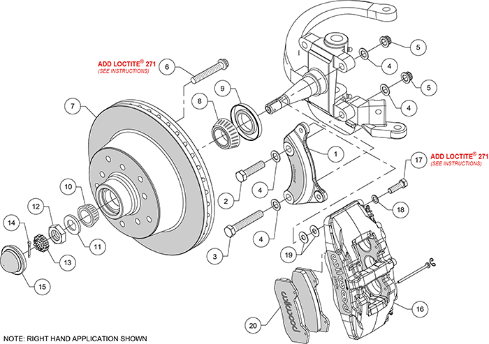 Classic Series Dynapro 6 Front Brake Kit Assembly Schematic