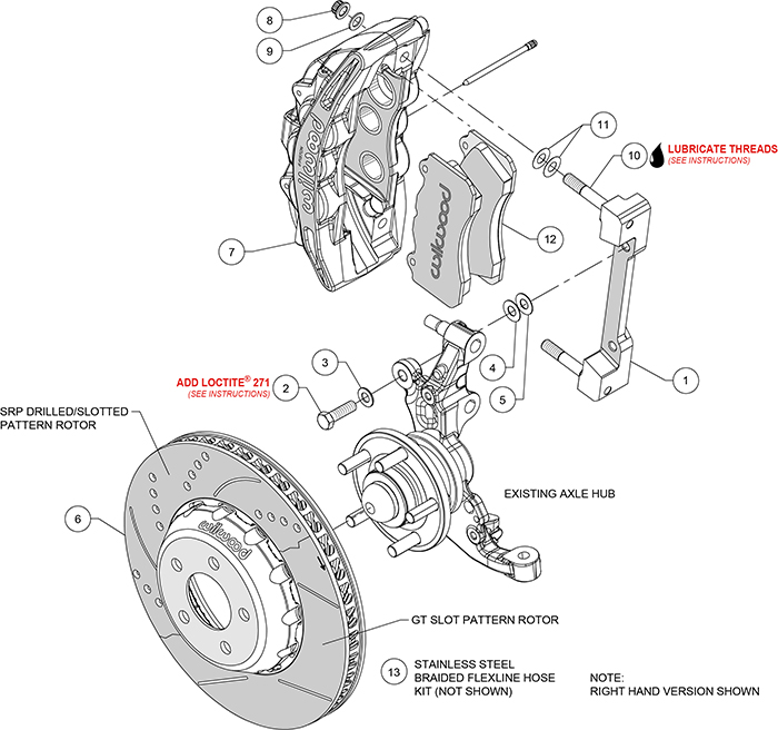 SX6R Big Brake Dynamic Front Brake Kit Assembly Schematic