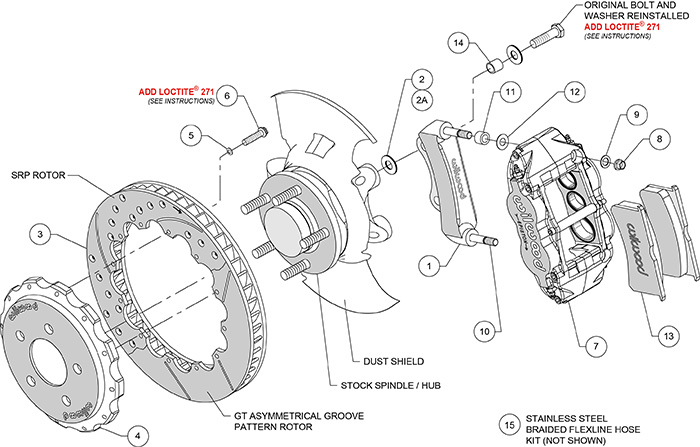 Forged Narrow Superlite 6R Dust-Seal Big Brake Front Brake Kit (Hat) Assembly Schematic