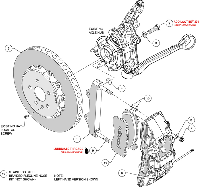 SX6R WCCB Carbon-Ceramic Big Brake Front Brake Kit Assembly Schematic