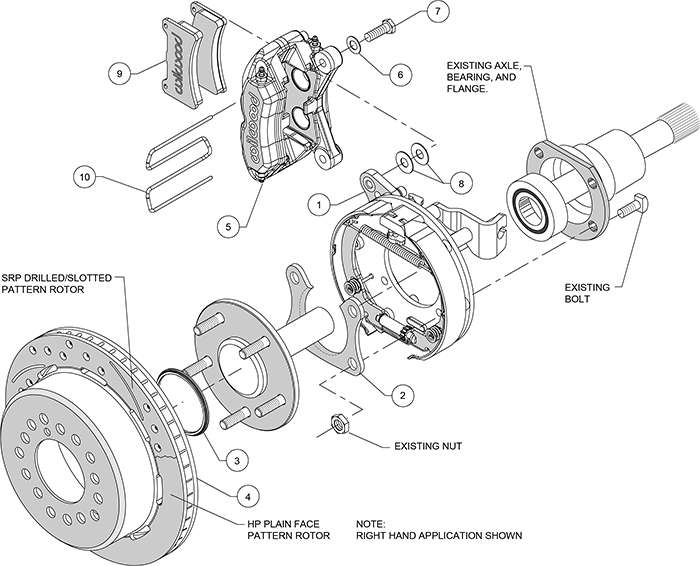 Forged Dynapro Low-Profile Dust Seal Rear Parking Brake Kit Assembly Schematic