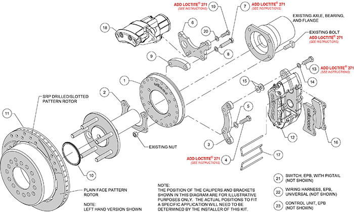 Forged Dynapro Low-Profile Rear Electronic Parking Brake Kit Assembly Schematic