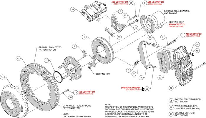 AERO4 Big Brake Rear Electronic Parking Brake Kit Assembly Schematic