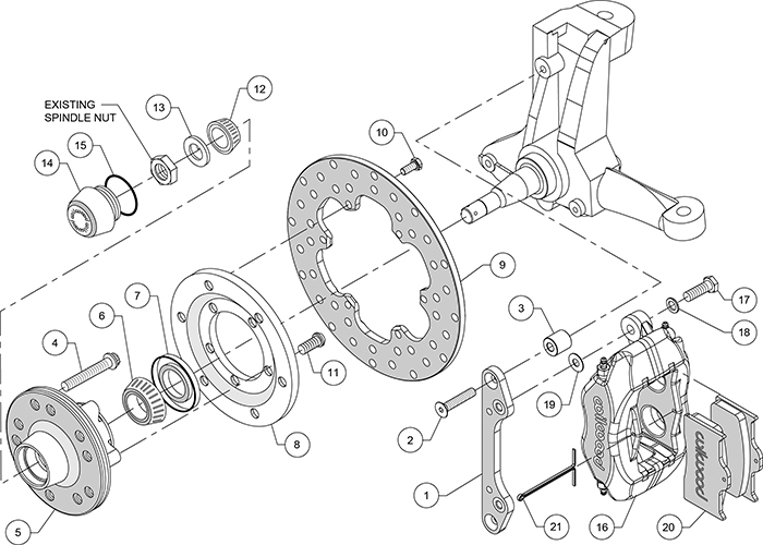 Forged Dynalite Front Drag Brake Kit Assembly Schematic
