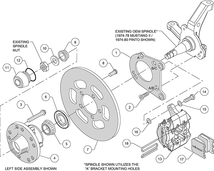Dynapro Single Front Drag Brake Kit Assembly Schematic
