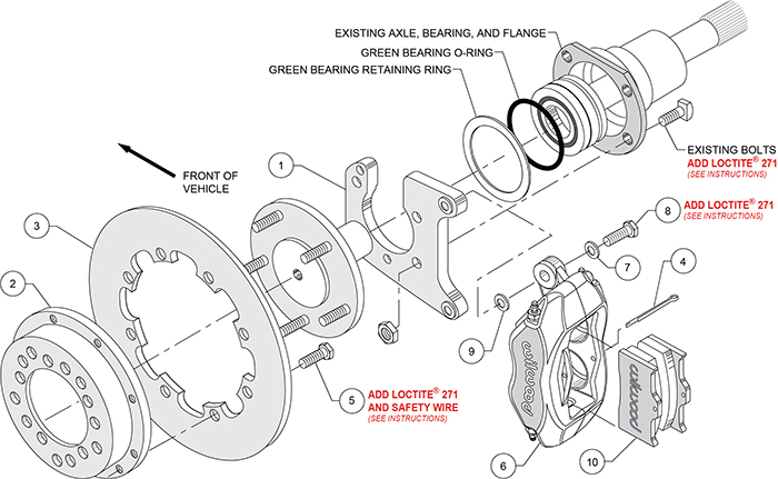 Forged Dynalite Rear Drag Brake Kit Assembly Schematic