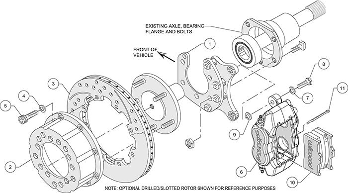Forged Dynalite Pro Series Rear Brake Kit Assembly Schematic