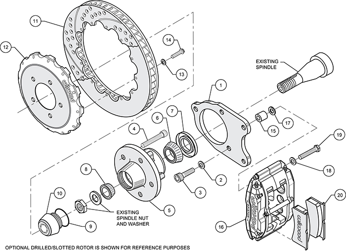 Superlite 6 Big Brake Front Brake Kit (Hub) Assembly Schematic