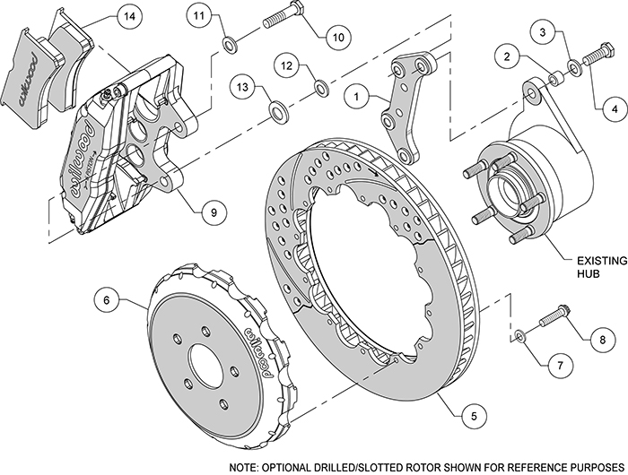 Superlite 6 Big Brake Front Brake Kit (Hat) Assembly Schematic