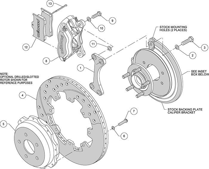 Dynapro Rear Brake Kit For OE Parking Brake Assembly Schematic