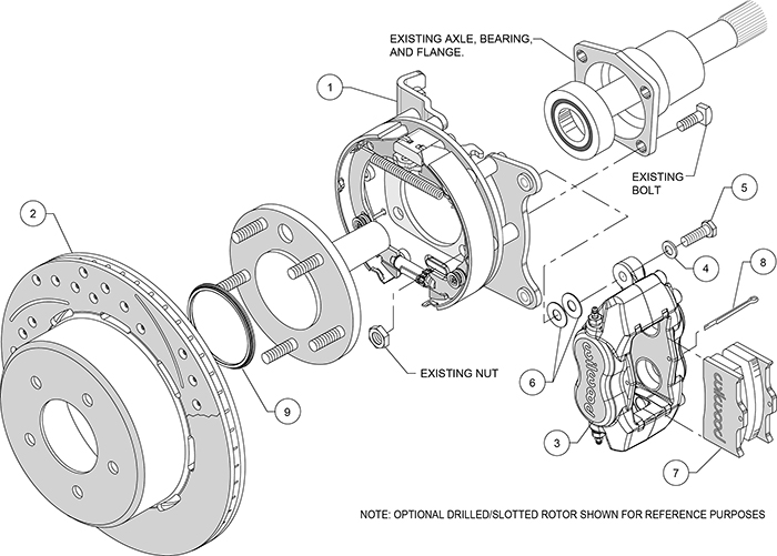 Forged Dynalite Rear Parking Brake Kit Assembly Schematic