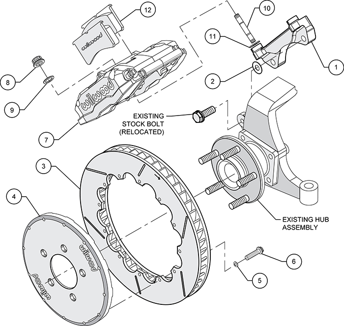 Superlite 6R Big Brake Front Brake Kit (Race) Assembly Schematic