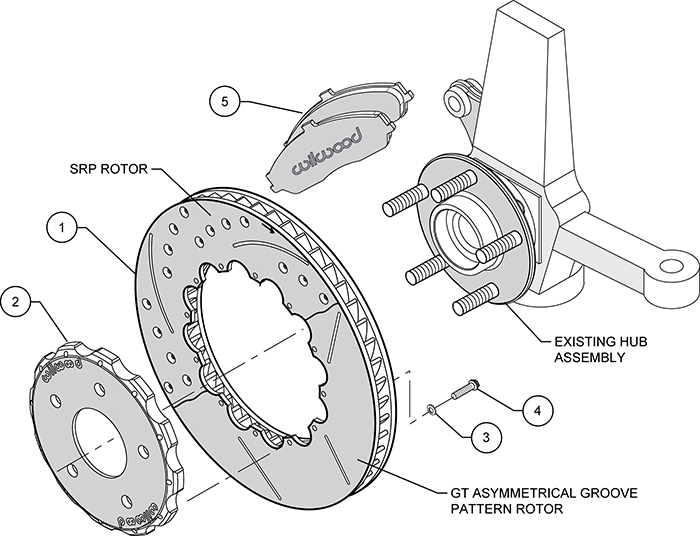 ProMatrix Front Track Rotor Kit Assembly Schematic