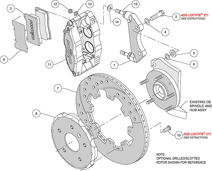 Dynapro Radial Big Brake Front Brake Kit (Hat) Assembly Schematic