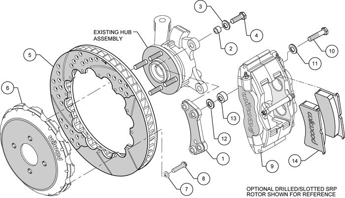 Forged Superlite 4 Big Brake Front Brake Kit (Hat) Assembly Schematic