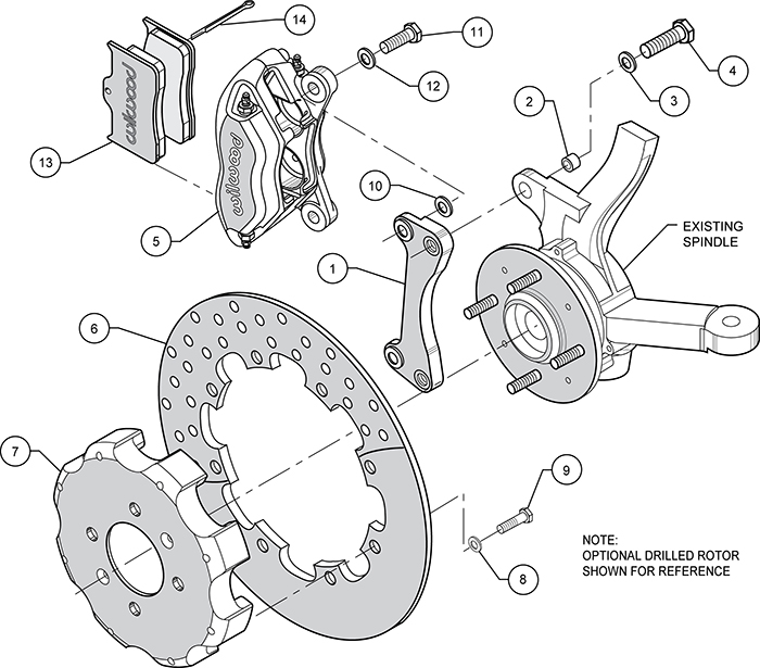 Forged Dynalite Front Drag Brake Kit (Hat) Assembly Schematic