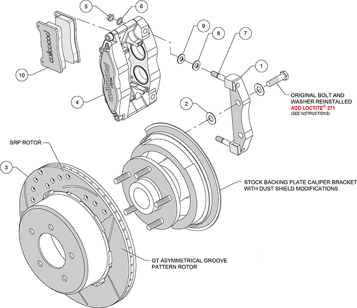 Dynapro Radial Rear Brake Kit For OE Parking Brake Assembly Schematic