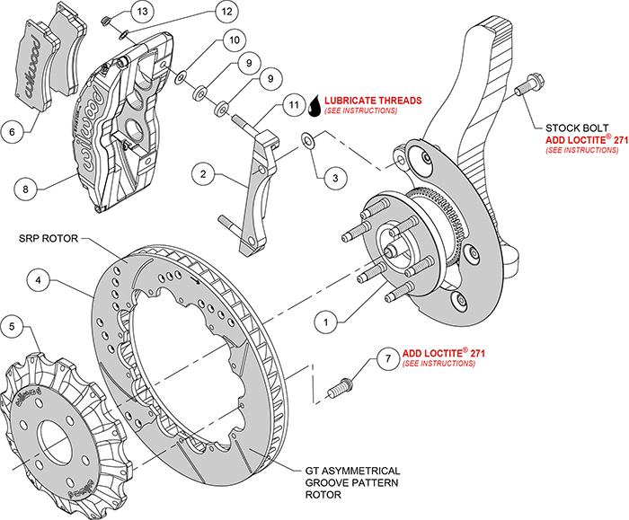 TC6R Big Brake Truck Front Brake Kit Assembly Schematic
