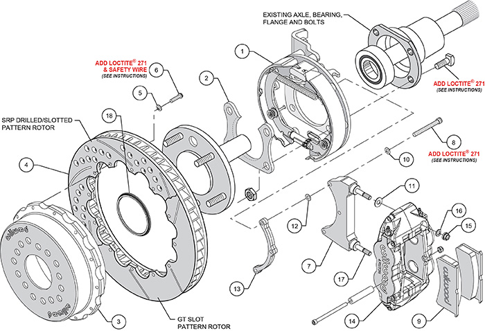 Forged Narrow Superlite 4R Big Brake Rear Parking Brake Kit Assembly Schematic