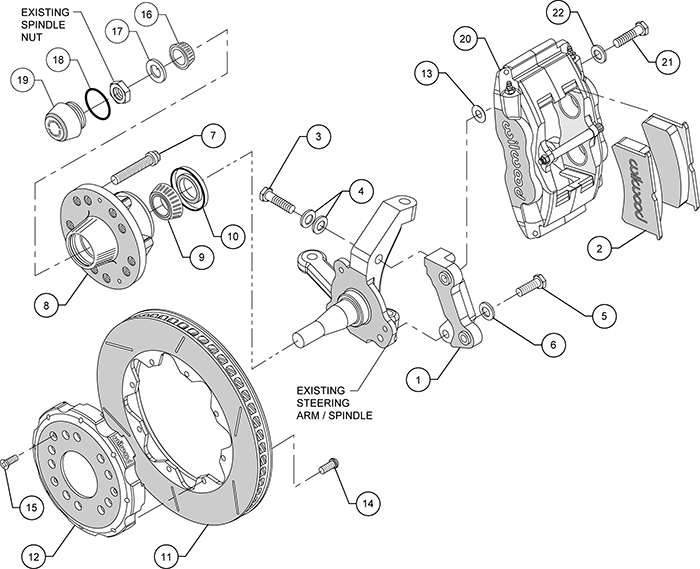 Forged Superlite 4 Big Brake Front Brake Kit (Hub) Assembly Schematic