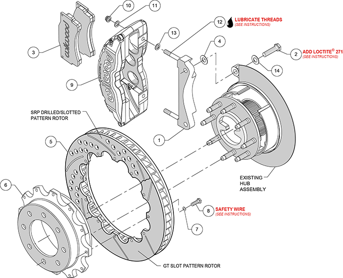 TC6R Big Brake Truck Rear Brake Kit Assembly Schematic