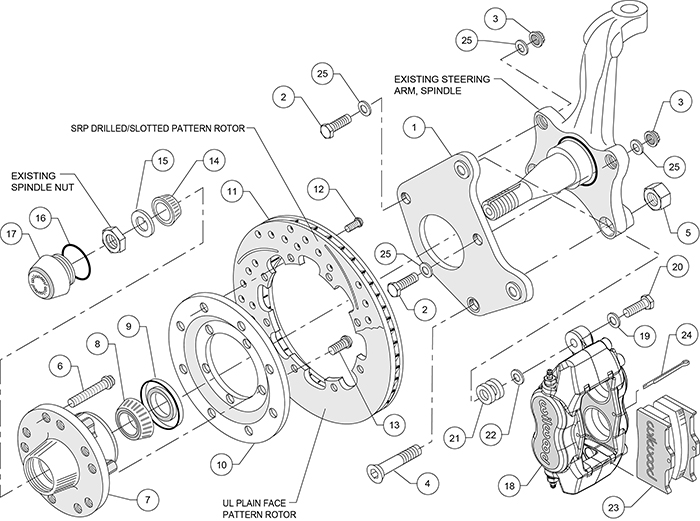Forged Dynalite Big Brake Front Brake Kit (Hub) Assembly Schematic