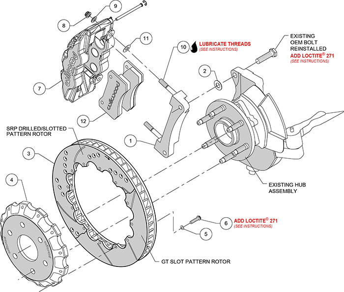 AERO6 Big Brake Truck Front Brake Kit Assembly Schematic