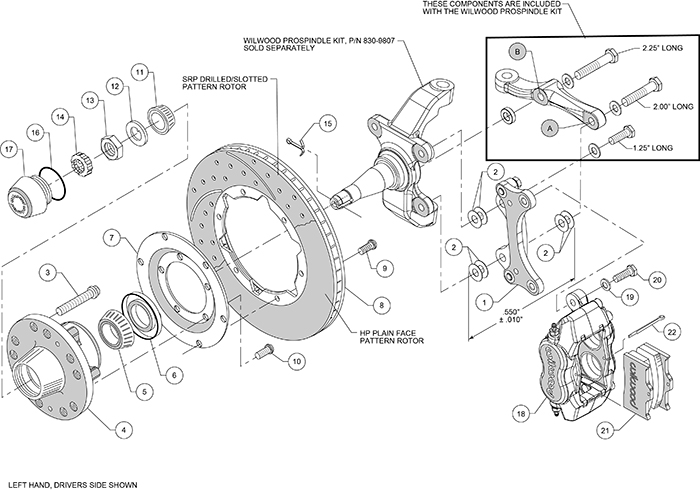 Forged Dynalite Pro Series Front Brake Kit Assembly Schematic