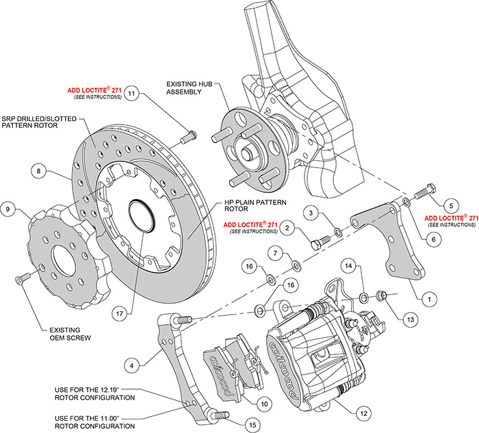 Combination Parking Brake Caliper Rear Brake Kit Assembly Schematic