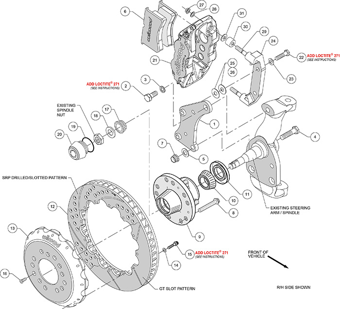 Forged Narrow Superlite 6R Big Brake Front Brake Kit (Hub) Assembly Schematic