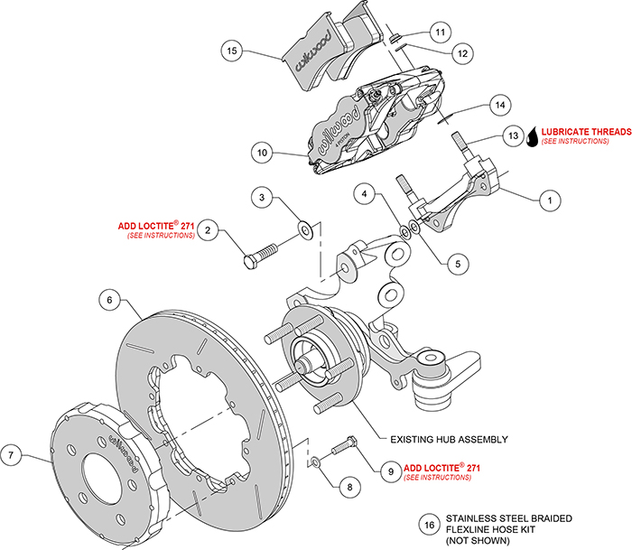 Superlite 4R Big Brake Front Brake Kit (Race) Assembly Schematic